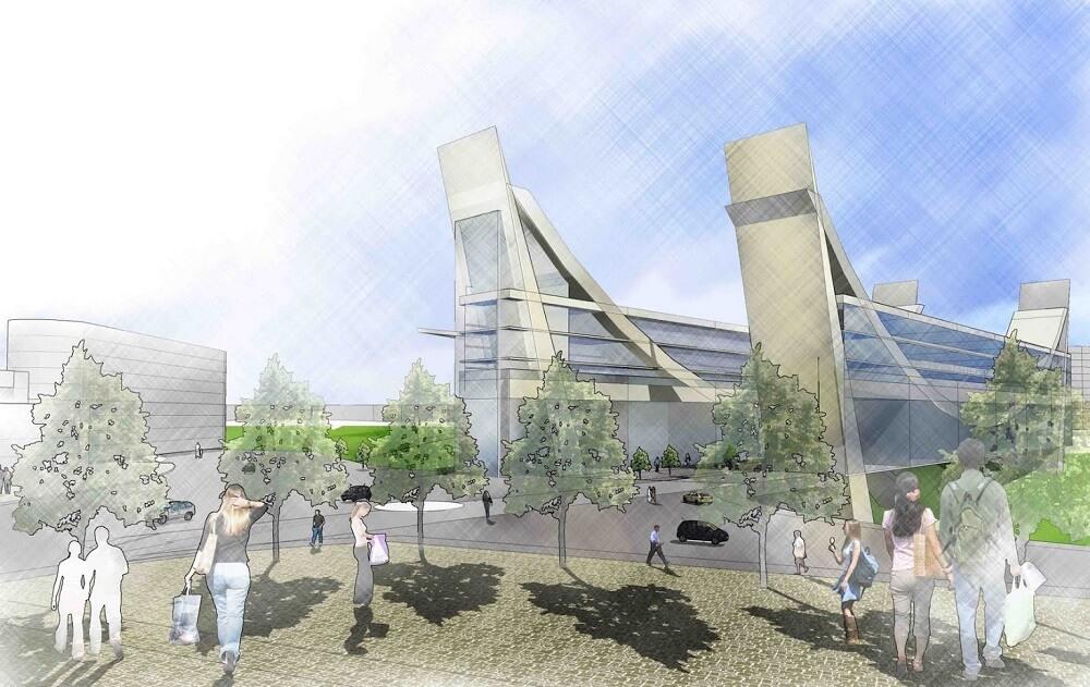 הצעה להקמת מבנה מעורב שימושים על גבי מבנה גשר ענבה - מודיעין - ארכיטקט דניאל גולדברג